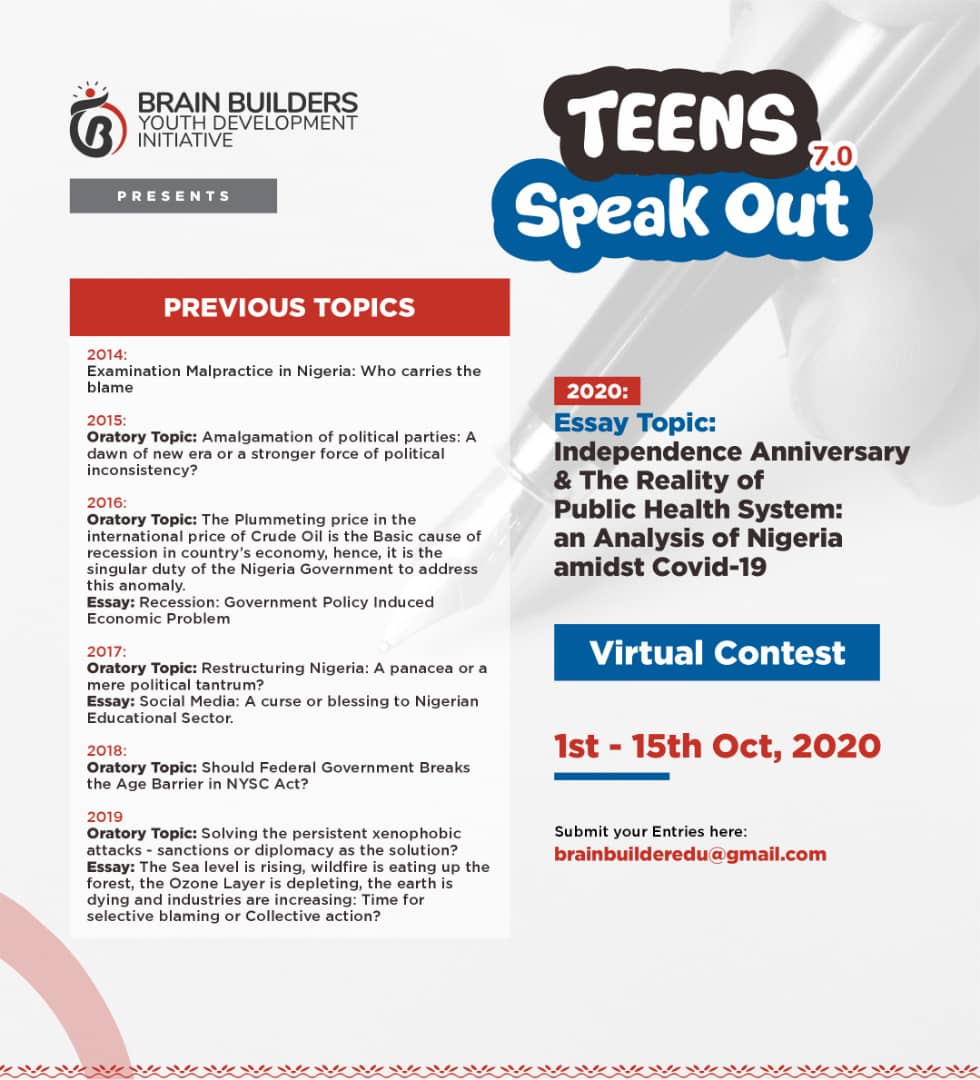 Teens Speak Out 7.0 Academic Competition is Live